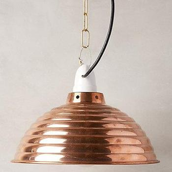 Lighting - Spun Reflector Pendant Lamp I Anthropologie - copper pendant lamp, ribbed copper pendant, copper pendant light,