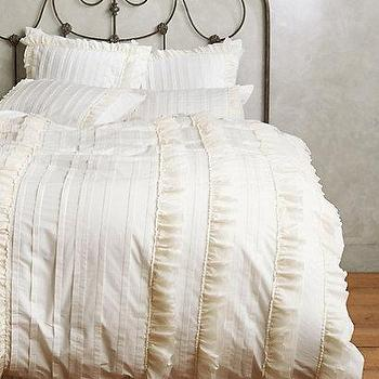 Bedding - Tiered Ruffle Duvet I Anthropologie - ruffled white duvet, ruffle trimmed duvet, white ruffle bedding,