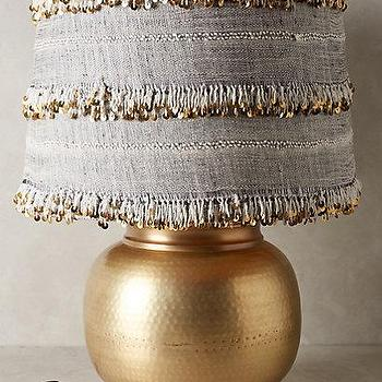 Lighting - Isobel Lamp Ensemble I Anthropologie - hammered brass table, brass lamp with fringed shade, boho table lamp, bohemian table lamp,