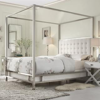 Beds/Headboards - INSPIRE Q Solivita White Linen Button Tufted Metal Poster Bed | Overstock.com - chrome four poster bed, modern metal four poster bed, upholstered four poster bed, white linen four poster bed, chrome and linen four poster bed, chrome canopy bed,