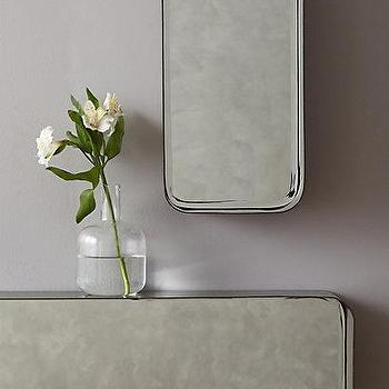 Mirrors - Industrial Mirror Shelf I Anthropologie - antiqued mirror shelf, mirror backed shelf, industrial mirror shelf,