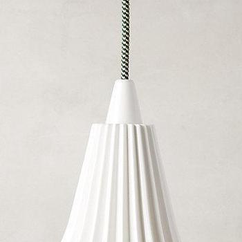 Lighting - Hector Pleat Pendant Lamp I Anthropologie - ridged china pendant lamp, china pendant light, white ridged pendant lamp,