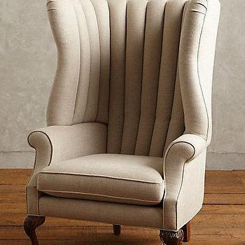 Seating - Linen English Fireside Chair I Anthropologie - channel tufted wingchair, channel tufted linen chair, channel tufted accent chair,