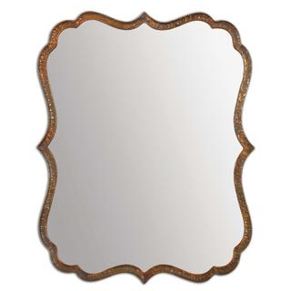 Mirrors - Spadola 30-inch Oxidized Copper Mirror | Overstock.com - hammered copper mirror, scalloped copper mirror, copper wall mirror,