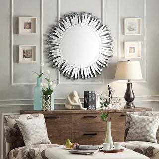 INSPIRE Q Roslyn Dotted Rays Silver Finish Accent Wall Mirror | Overstock.com - silver gray sun mirror, sun shaped mirror, silver sunburst mirror, mirrored ray mirror, mirrored sunburst mirror,