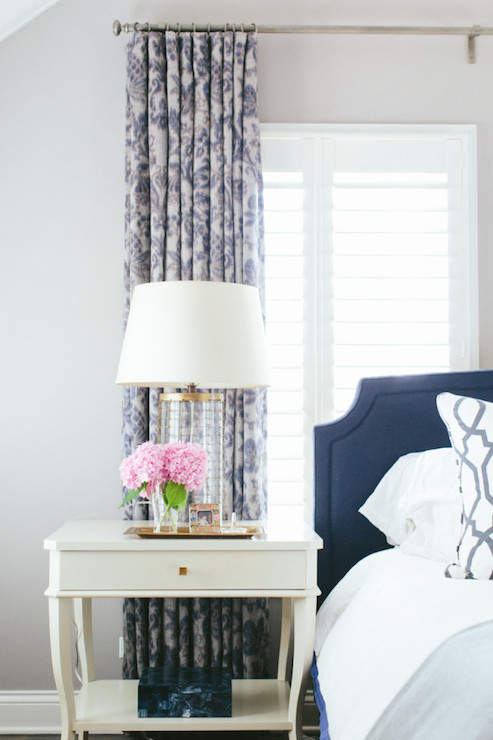 Navy Headboard Transitional Bedroom Kate Marker Interiors