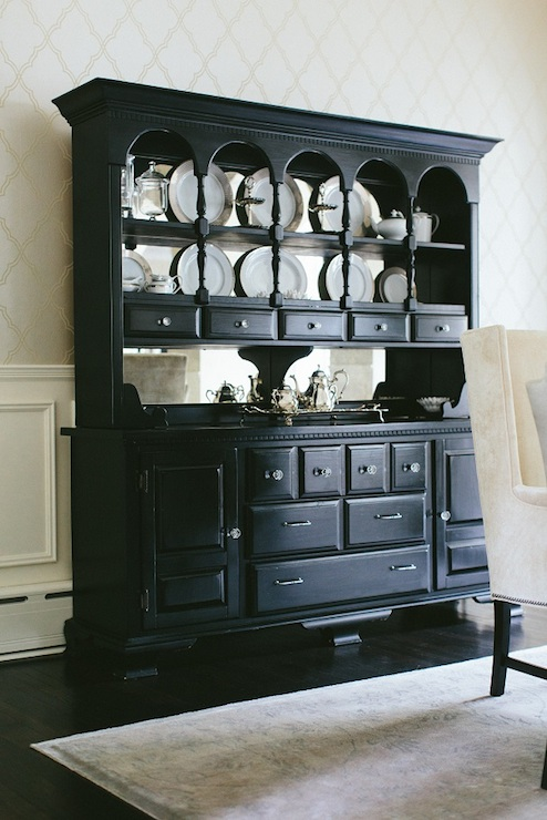 Black Buffet And Hutch Transitional Dining Room Kate Marker Interiors