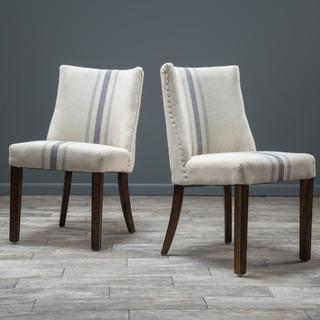 Seating - Christopher Knight Home Harman Dining Chair (Set of 2) | Overstock.com - blue striped dining chair, blue grainsack dining chair, grainsack dining chair, french grainsack dining chair,