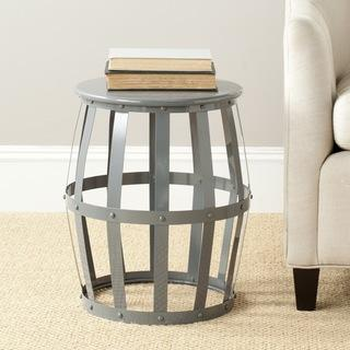 Tables - Safavieh Rinaldo Grey Iron Stool | Overstock.com - gray iron side table, gray iron stool, iron drum stool, glossy gray iron stool,