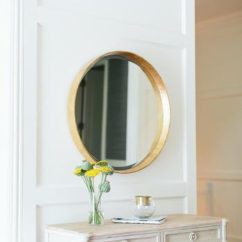 Gold Convex Mirror, Transitional, entrance/foyer, Kate Marker Interiors
