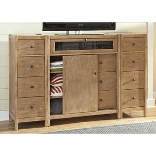 Storage Furniture - New Haven Entertainment Center with Optional Piers | Overstock.com - oak entertainment center, oak media console, oak media stand,