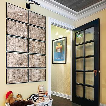Rob Stuart Interiors - boy's rooms - playroom, playroom ideas, planked ceiling, planked playroom ceiling, yellow walls, yellow playroom, vintage maps, framed vintage maps, vintage toy crates, numbered toy crates, numbered toy bins,