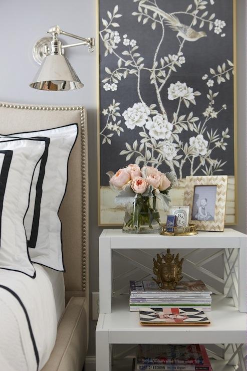 Framed Fabric Panels Transitional Bedroom Benjamin