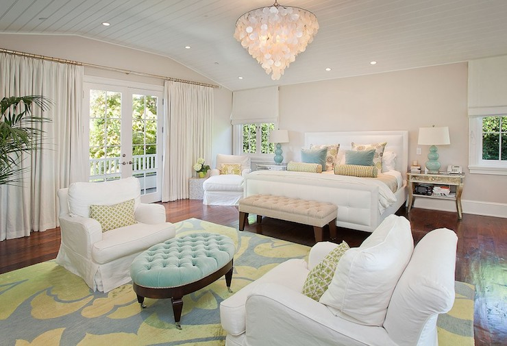 White curtains bedroom french doors sitting area bedroom sitting