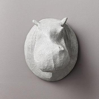 Art/Wall Decor - Papier-Mache Hippo Head I RH Baby and Child - hippo papier mache head, hippo faux taxidermy, hippo head wall art,