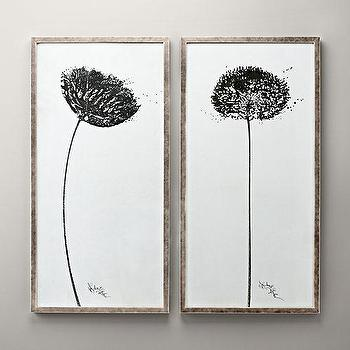 Art/Wall Decor - Dandelion Art I RH Baby and Child - dandelion wall art, black and white dandelion framed art, framed dandelion art prints, dandelion art print,