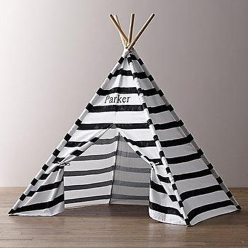 Printed Canvas Black & White Teepee Tent I RH Baby and Child