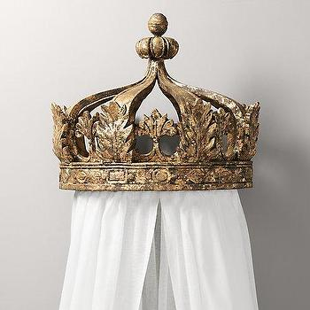 Art/Wall Decor - Gilt Canopy Bed Crown I RH Baby and Child - gold crown bed canopy, gilt crown bed canopy, crown bed canopy,