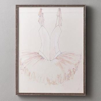 Art/Wall Decor - Ballet Barre Illustrations V-Neck Tutu I RH Baby and Child - ballet tutu art, ballet tutu framed art, ballet tutu nursery art,