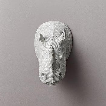Art/Wall Decor - Papier-Mache Rhino Head I RH Baby and Child - rhino head wall art, rhino head papier mache, rhino faux taxidermy,