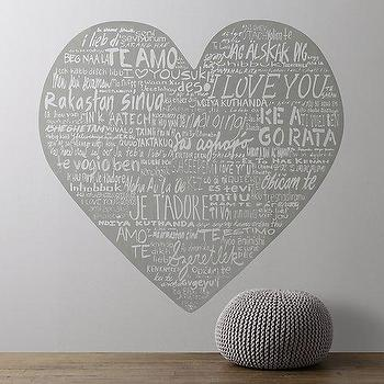 Art/Wall Decor - Heart Wall Decal I RH Baby and Child - heart shaped wall decal, i love you heart decal, gray heart wall decal,