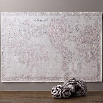 Art/Wall Decor - Bordered Map Grand Canvas Wall Tapestry I RH Baby and Child - map wall canvas, world map wall tapestry, nursery world map, kids room world map,
