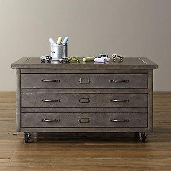 Storage Furniture - Vintage Flat File Square Activity Table I RH Baby and Child - industrial kids table, metal kids table, industrial kids cart, kids play table with drawers,