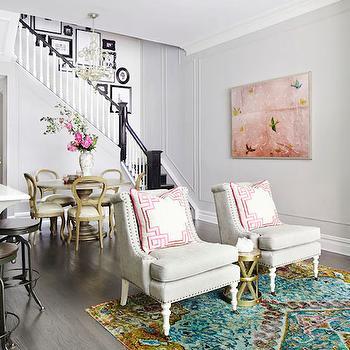 Pillows with Greek Key Trim, Contemporary, living room, Rob Stuart Interiors