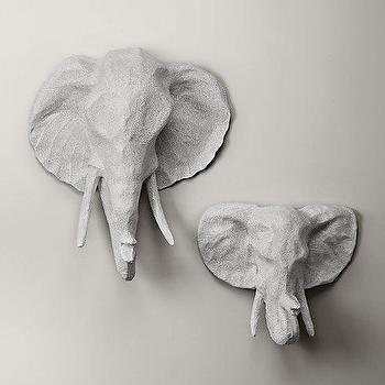 Art/Wall Decor - Papier-Mache Elephant Head I RH Baby and Child - elephant papier mache head, elephant faux taxidermy, elephant wall decor, elephant head wall art,