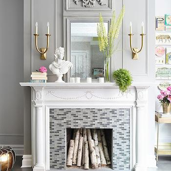 Gray Glass Fireplace Tiles, Contemporary, living room, Rob Stuart Interiors