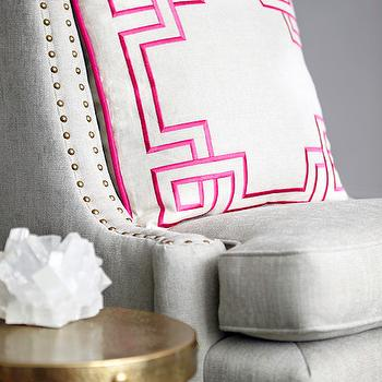 Rob Stuart Interiors - living rooms - light gray chair, gray accent chairs, pillows with greek key trim, greek key pillows, white and pink pillows, pink greek key pillows, brass accent table, antique brass accent table, light gray accent chair, gray nailhead chair, nailhead chair, studded chair, gray studded chair,