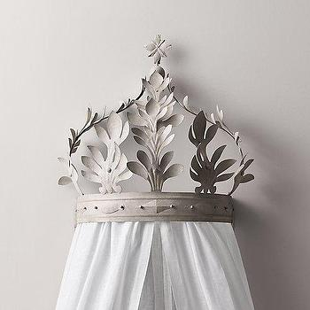 Art/Wall Decor - Heirloom White Demilune Metal Canopy Bed Crown I RH Baby and Child - metal crown bed canopy, crown bed canopy, acanthus bed canopy,