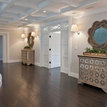 Brooke Wagner Design - entrances/foyers - second floor landing, octagon chests, mirrored octagon chests, mirror octagon chests, second floor landing chests, infinity mirror, infinity chain mirror, transom window, bedroom transom window, master bedroom transom window, coffered ceiling,