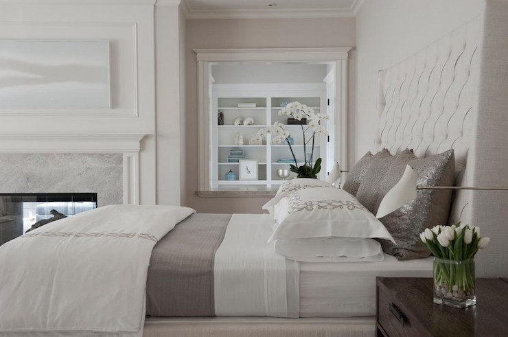 White And Gray Bedding Transitional Bedroom Rt