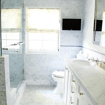 Glass and Marble Shower Enclosure, Transitional, bathroom, Design Stiles
