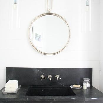 Enjoy Company - bathrooms - shiplap in powder room, shiplap walls, marble sink vanity, contemporary marble sink, marble vanity with backsplash, marble wall mount vanity, black marble sink vanity, black marble sink, modern wall mount faucet, wall mount hot and cold faucet, nickel captains mirror, captains mirror, glass pendant light, contemporary glass pendant, hanging vanity pendant, ceiling mount vanity pendant, black and white powder room ideas, powder room shiplap, paneled powder room, black marble vanity, black marble washstand, wall mounted vanity, wall mounted washstand, hanging vanity lights, hanging vanity pendants, honed black marble sink, honed black marble vanity, honed black marble washstand,