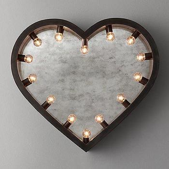 Mirrors - Illuminated Antiqued Mirror Heart I RH Baby and Child - heart shaped mirror, heart shape lit mirror, lighted heart shaped mirror, antiqued heart shape mirror, heart shaped marquee mirror,