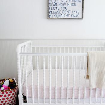 Design Stiles - nurseries - pink and white striped rug, pink and white pinstriped rug, pink striped rug, white and pink nursery ideas, girl nursery ideas, nursery beadboard, beadboard in nursery, beadboard lower walls, beadboard half walls, beadboard wall paneling, sugarboo art, you are my sunshine art, you are my sunshine wall decor, white crib, white spindle crib, white jenny lind crib, pink embroidered crib skirt, embroidered crib skirt, pink and white woven basket, pink fitted crib sheet, art over crib, nursery art, gray and white nursery art, art above crib, nursery rugs, nursery beadboard wainscoting, nursery art, art over crib, over the crib art, pink diamond crib sheets, embroidered crib skirts, gray beadboard, gray beadboard trim, gray beadboard wainscoting,