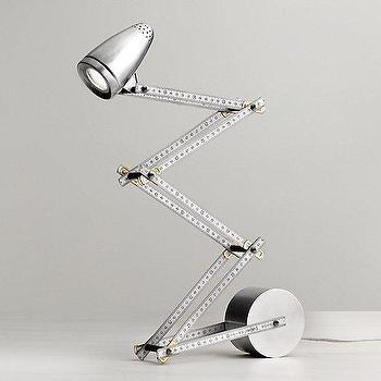 Lighting - Carpenter's Ruler Task Lamp I RH Baby and Child - vintage ruler desk lamp, ruler task lamp, metal ruler table lamp,
