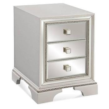 Storage Furniture - Bassett Mirror Armando Chairside Chest in White I Homeclick - mirror front chest, mirrored bedside table, mirrored nightstand,