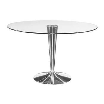 Tables - Bassett Mirror Concorde 48 Round Dining Table I Homeclick - chrome and glass dining table, modern glass dining table, round glass topped dining table, modern pedestal dining table,