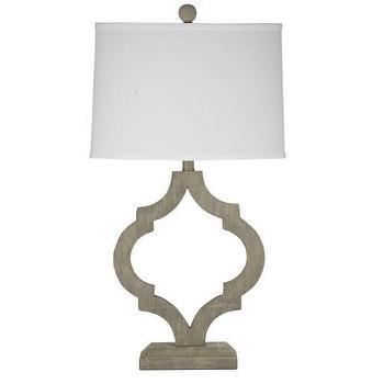 Lighting - Bassett Mirror Denton Table Lamp in Light Gray I Homeclick - arabesque shaped lamp, wooden arabesque lamp, graywash wood lamp,