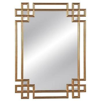 Mirrors - Frederick Wall Mirror in Antique Gold Leaf I Homeclick - antiqued gold leaf mirror, transitional gold leaf mirror, geometric gold framed mirror,