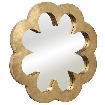 Mirrors - Bassett Mirror Cicely Wall Mirror in Gold Leaf I Homeclick - modern gold wall wall, gold leaf wall mirror, gold flower shaped mirror,