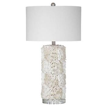 Lighting - Bassett Mirror Shell Table Lamp in Cream I Homeclick - shell table lamp, shell encrusted lamp, seashell lamp,