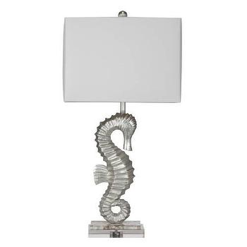 Lighting - Bassett Mirror Sea Horse Table Lamp in Silver Leaf I Homeclick - silver sea horse lamp, seahorse lamp, seahorse table lamp,