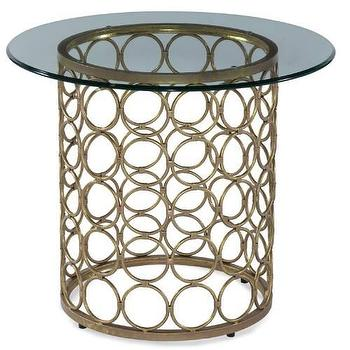 Tables - Carnaby Round End Table in Lux Gold and Gold Leaf I Homeclick - round gold end table, gold ring end table, gold leaf ring end table, gold circle end table,