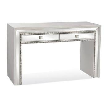 Tables - Armando Console Table in White I Homeclick - mirrored console table, mirrored two drawer console, mirrored console table with drawers,