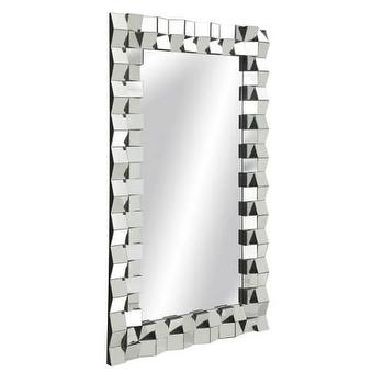 Mirrors - Bassett Mirror Winslow Wall Mirror in Clear I Homeclick - faceted frame mirror, geometric framed mirror, modern framed mirror, mirrored mosaic framed mirror,