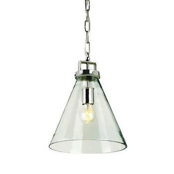 Lighting - Currey and Company Vitrine 1 Light Pendant I Homeclick - glass cone pendant light, industrial glass pendant light, beaker shaped glass pendant light,